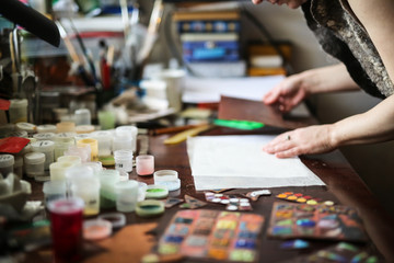 Multicolored enamel samples on metal, top view