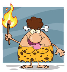 Happy Brunette Cave Woman Cartoon Mascot Character Holding Up A Fiery Torch. Illustration Isolated On White Background