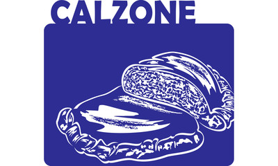 Calzone - italian folded pizza with mozzarella and salami - vector
