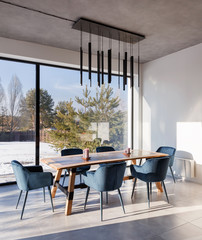 interior dining room with panoramic windows and a view of the courtyard