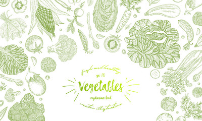 Vegetable hand drawn vintage vector illustration. Vegetarian set of organic products. Can be used for wrapping paper, street festival, farmers market, country fair, shop, menu, cafe, restaurant.