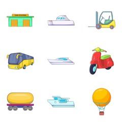 Autoship icons set, cartoon style