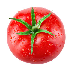 Tomato with drops. Tomato isolated. Top view. With clipping path.