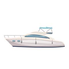 Speed boat, yacht on seascape background, cartoon style, vector illustration, isolated