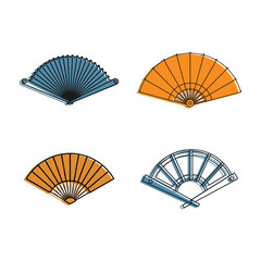 Hand fan icon set, color outline style