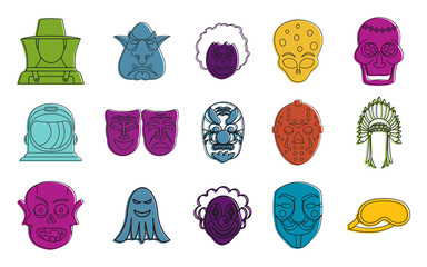 Mask icon set, color outline style