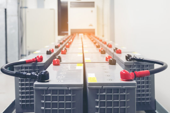 Battery pack in battery room in power plant for supply electricity in plant during shutdown phase, Rows of batteries in industrial backup power system.