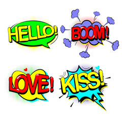 Set retro of cartoon, speech sketch. HELLO, BOOM, KISS, LOVE. Comic speech bubbles. Dialog Clouds in pop art style. Vector