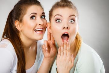 Two women telling gossip