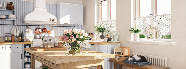 retro kitchen in a cottage with sleeping cat. 3D RENDERING