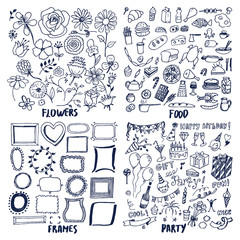 Food Frames Flowers Party Set of Cute Sketches