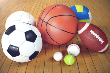 3d rendering sport balls on wooden backgorund. Set of sport balls. Sport equipment such us football, basketball, baseball, tennis, golf ball for team and individual playing for recreation and improve