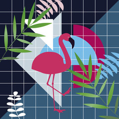 Beautiful vector floral summer pattern background. Tropical palm leaves and flamingo. Ideally for wallpapers, web page backgrounds, surface textures.