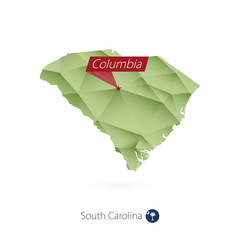 Green gradient low poly map of South Carolina with capital Columbia