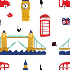 vector flat London, United kingdom, great britain symbols seamless pattern. British flag, phone booth, double decker bus, Big Ban Tower , Bridge of London, gentleman hat, umbrella, smoking pipe icon.