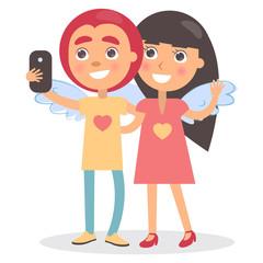 Boy Girl Couple Wings on Back Making Selfie Photo