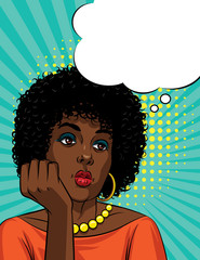 Vector retro illustration pop art comic style of a boring woman's face. Afro American woman with curly hair is thinking
