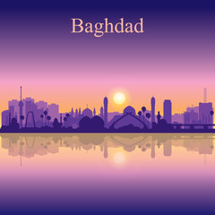 Baghdad city silhouette on sunset background