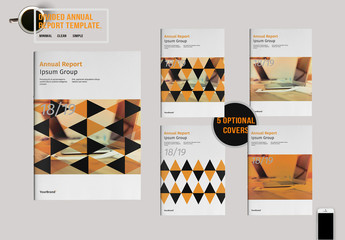 Annual Report Layout with Triangular Patterns