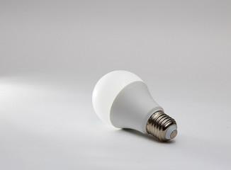 Led light bulb on gray background