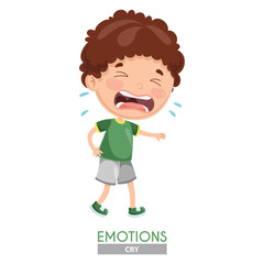 Vector Illustration Of Crying Kid Emotion