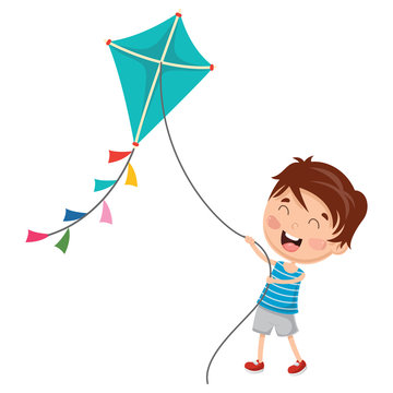 Vector Illustration Of Kid Playing Kite