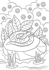 Coloring pages. Cute viper lies on the stone.