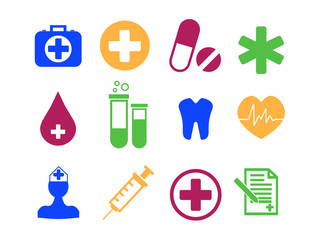 Medicine and Health flat icon set. Vector Illustration. EPS