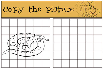 Educational game: Copy the picture. Little cute smiling viper.