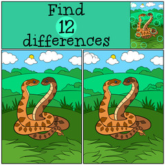 Educational game: Find differences. Two cute vipers.