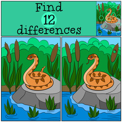 Educational game: Find differences. Little cute viper.