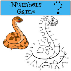 Educational game: Numbers game. Little cute viper.