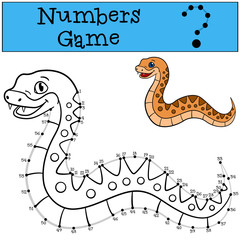 Educational game: Numbers game with contour. Little cute viper.