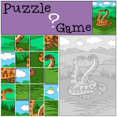 Education game: Puzzle. Two vipers smile.