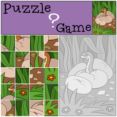 Education game: Puzzle. Little cute baby viper.