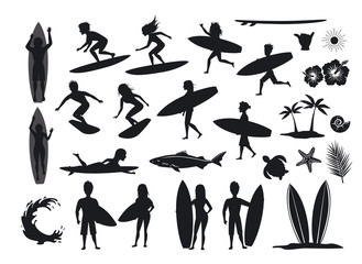 surfers silhouettes set. men and women surfing, riding waves, stand, walk, run, swim with surfboards, symbols design decoration, palm tree, leaf, turtle, shark, hand, hibiskus, wave, sun