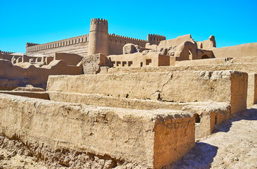 The earthen walls of Rayen, Iran