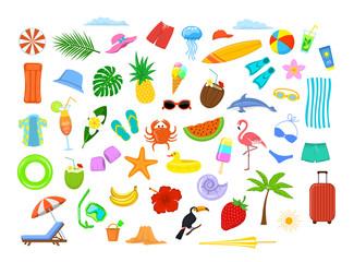 summer time beach holidays travel design elements, decoration: mattress, suitcase, umbrella, sunchair, palm tree, leaf, fruits, pineapple, coconut drink,  bikini,  shirt, flamingo, surfboard