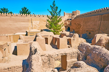 The small houses in Rayen fortress, Iran