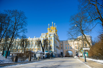 Catherine Palace in Tsarskoye Selo in winter. History Ancient Imperial architecture of Pushkin, St. Petersburg.
