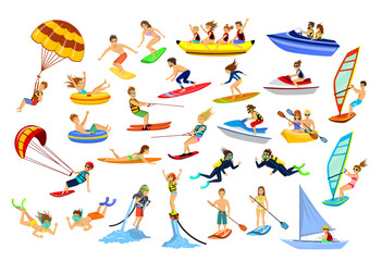 Summer water beach sports. People windsurfing, surfing, jet skiing, stand up paddleboarding, snorkeling, scuba diving, tubing, riding speed boat  fly board, kayak, parasail, wakeboard, kitesurfing,
