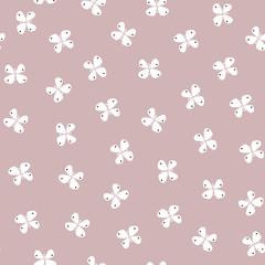 Simple pastel color pattern vector seamless with butterflies