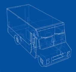 Concept delivery car. 3d illustration