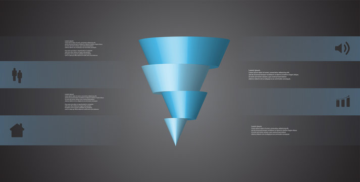 3D illustration infographic template with cone horizontally sliced to four shifted parts