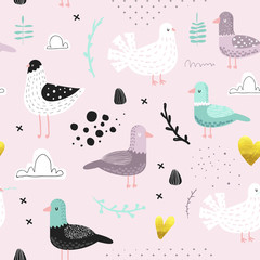 Seamless Pattern with Cute Doves. Creative Hand Drawn Childish Bird Pigeon Background for Fabric, Wallpaper, Decoration. Vector illustration