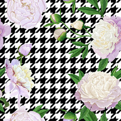 Floral Seamless Pattern with White Peonies. Spring Blooming Flowers Background for Fabric, Prints, Wedding Decoration, Invitation, Wallpapers, Wrapping Paper. Vector illustration