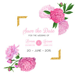 Floral Wedding Invitation Template. Save the Date Card with Blooming Pink Peonies and Golden Frame. Romantic Botanical Design with Flowers for Ceremony Decoration. Vector illustration