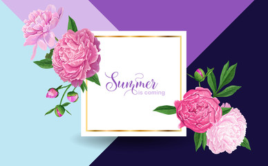 Hello Summer Floral Design with Pink Peonies Flowers. Botanical Background for Poster, Banner, Wedding Invitation, Greeting Card, Sale. Vector illustration