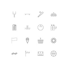 Sport Fitness And Recreation simple linear icons set. Outlined vector icons