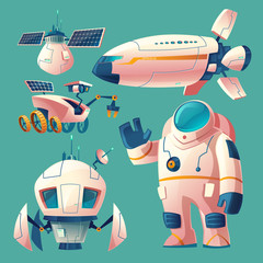 Vector cartoon clipart with objects for space exploration, astronaut in spacesuit, rover, shuttle, spaceship for flights across the universe, research station with solar batteries. Futuristic concept